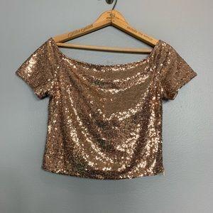 LULU'S | gold sequin wide neck crop top